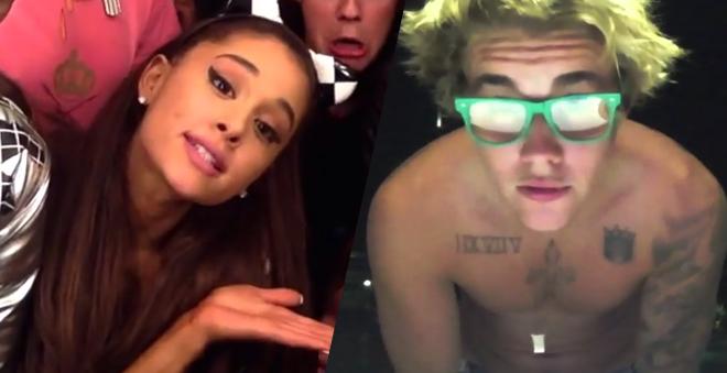 """Justin Bieber e Ariana Grande dublando """"I Really Like You"""", da Carly Rae Jepsen"""
