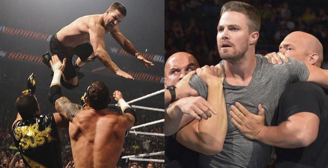 Assista os melhores momentos da luta de Stephen Amell, de Arrow, na WWE!