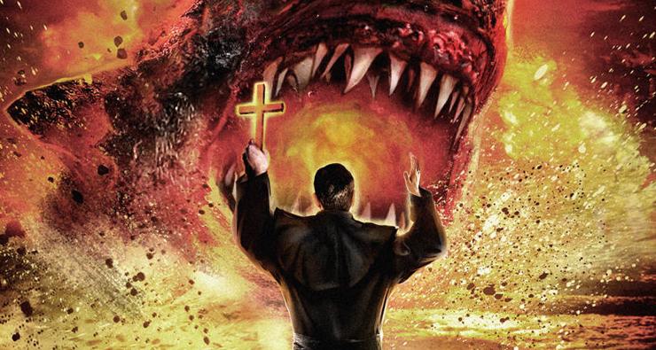 """TRASH! Padre exorciza tubarões possuídos em trailer de """"Shark Exorcist"""""""