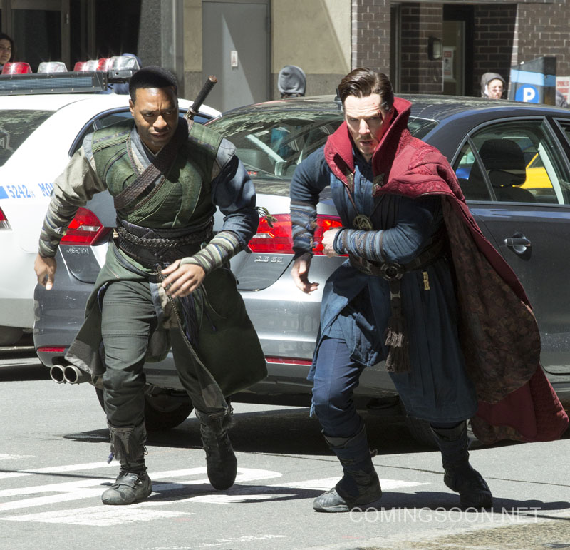 On location with 'Doctor Strange' filming in New York City Featuring: Chiwetel Ejiofor, Benedict Cumberbatch Where: New York, New York, United States When: 04 Apr 2016 Credit: WENN.com