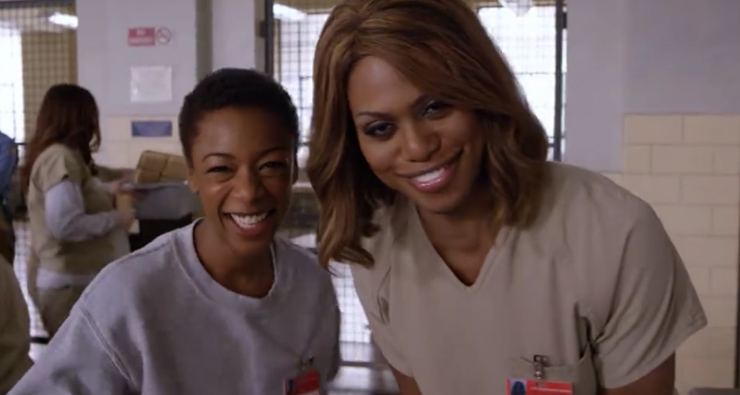 "SOCORRO! Inês Brasil participa de novo vídeo promocional de ""Orange is the New Black"""