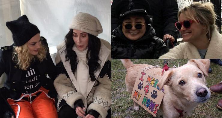 Madonna, Yoko Ono, Alicia Keys, Miley Cyrus, Cher e outras artistas na Marcha das Mulheres, nos EUA