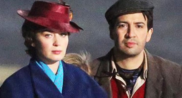 """Vídeo e fotos de Emily Blunt e Lin-Manuel nas gravações de """"Mary Poppins Returns"""""""